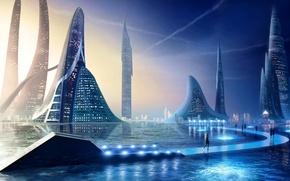 Картинка небо, вода, city, город, огни, люди, башни, water, towers, peoples, aquatic slidewalk
