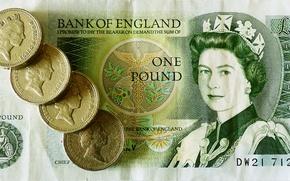 Картинка деньги, монеты, королева, банкнота, фунт