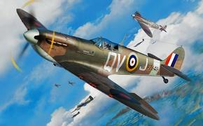 Картинка war, art, airplane, painting, aviation, Supermarine Spitfire, ww2