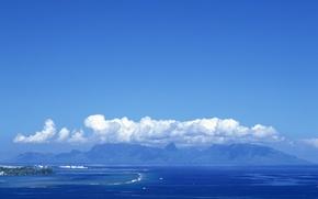 Обои море, горы, остров, Облака
