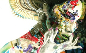 Картинка яркие краски, девушка, абстракция, движение, узоры, арт, пальцы, GrenoMJ