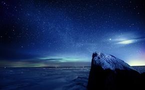 Обои небо, звезды, ночь, лед, зима