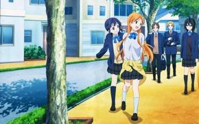 Картинка Аниме, Yui Kiriyama, Iori Nagase, Kokoro Connect, Himeko Inaba, Tait Yaegasi, Yoshifumi Aoki.