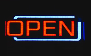 Картинка sign, night, glow, neon, England, United Kingdom, open, Birmingham