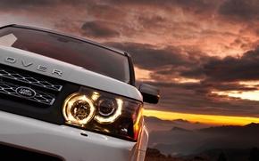 Обои авто, белый, range rover, горы, закат