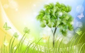 Картинка трава, бабочки, дерево, рисунок