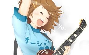 Картинка девушка, гитара, заколки, Yui, K-On!, Легкая музыка