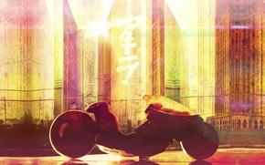 Картинка огни, будущее, фантастика, здания, небоскребы, мотоцикл, байк, киберпанк, постапокалиптика, Акира, Akira, Kaneda's motorcycle, New Tokio