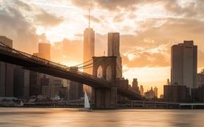 Картинка закат, мост, город, река, Бруклин, США