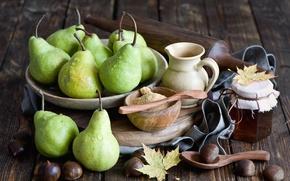 Картинка осень, листья, мед, фрукты, натюрморт, груши, баночка, каштаны, Anna Verdina