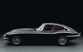 Картинка ретро, Jaguar, вид сбоку, E-type, 1961