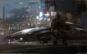 Картинка city, город, фантастика, человек, корабль, spaceship, sci-fi, CG wallpapers, Break, концепт-арт, Jong Won Park
