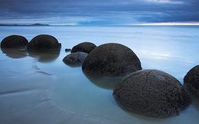 Картинка облака, шары, берег, Камни