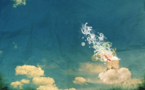 Картинка трубы, бумага, Облака, орнаменты, помятая