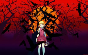 Картинка ночь, череп, вороны, красные глаза, малышка, кровавая луна, Bakemonogatari, Shinobu Oshino, история чудовищ