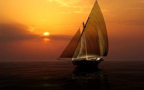 Обои закат, парус, горизонт, небо, солнце, яхта, море