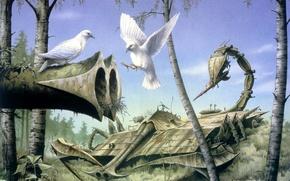 Картинка лес, оружие, мир, тишина, голуби, RODNEY MATTHEWS, Peace at Last
