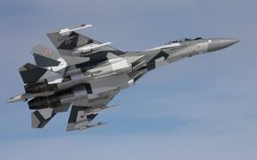 Картинка небо, серый, истребитель, бомбардировщик, многоцелевой, сверхманевренный, су 35, ОКБ Сухого