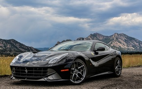 Картинка ferrari, black, f12, berlinetta