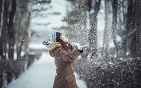 Картинка снег, girl, mood, настроение, девушка, Зима, фотограф Лаферов Андрей, Girl in winter, snow falls, laferov, …