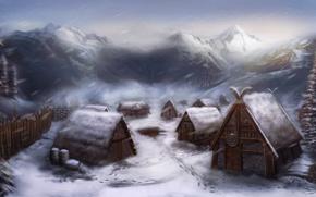 Картинка снег, дома, деревня, арт, поселение, викинги, Michael Davini