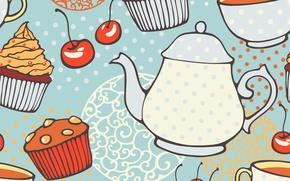 Картинка текстура, чайник, texture, кексы, tea, muffins
