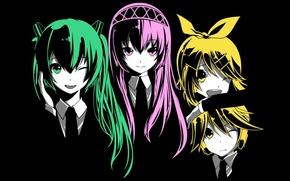 Картинка девушки, парень, vocaloid, Hatsune Miku, Kagamine Rin, вокалоид, Kagaemine len, Luka