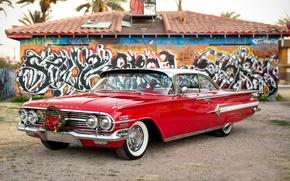 Обои Chevrolet, 1960, Impala, передок, красный