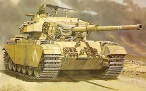 Картинка арт, танк, великобритания, события, средний, Centurion Mk, 105-мм, пушкой, установленной, ближнем, броней, востоке., дополнительной, 6 …