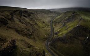 Картинка дорога, небо, тучи, скалы, холмы, зеленая трава, Англия, хмурое утро, Соединённое Королевство, Duncan Fawkes Photography, …