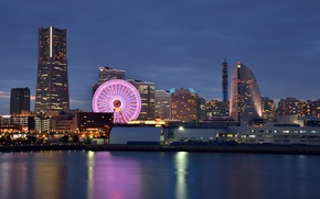 Обои небо, закат, ночь, огни, отражение, здания, дома, Япония, освещение, подсветка, залив, колесо обозрения, Japan, синее, ...