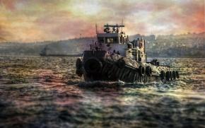Картинка море, стиль, фон, корабль