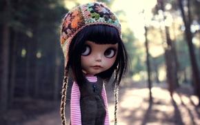 Картинка глаза, улица, шапка, волосы, кукла, чёлка