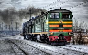 Картинка зима, поезд, локомотив, Россия