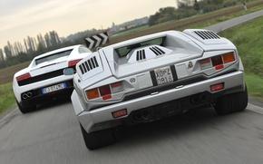 Картинка Lamborghini, Gallardo, вид сзади, and, суперкары, Countach, Ламборгини, Галлардо, Каунтач