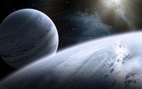 Картинка light, stars, planets, satellites, galaxies, dark shadows