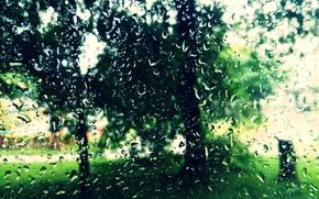 Обои лето, стекло.настроение, Капли, дождь