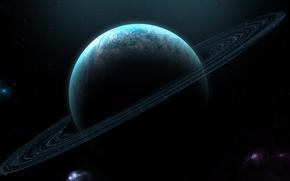 Обои туманности, космос, звезды, кольца, планета, планетарные, атмосфера