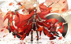 Картинка девушка, оружие, аниме, лепестки, шарф, арт, цепь, коса, плащ, rwby, ruby rose, dishwasher1910