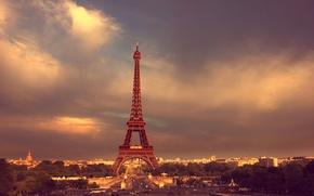 Картинка дорога, небо, облака, деревья, люди, Париж, Paris, Эйфелева башня
