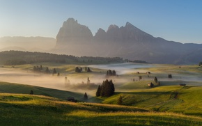 Картинка лето, горы, туман, утро, дымка, луга