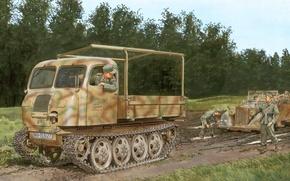Картинка дорога, деревья, грязь, арт, грузовик, зимы, тягач, для, созданный, специально, немецкий, RSO1, Raupenschlepper, условий, распутицы, …
