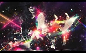 Картинка девушка, огни, неон, шляпа, искры, электрогитара