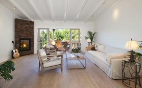 Картинка диван, мебель, гитара, балкон, камин, Design, гостиная, Interior, Living