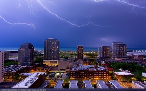 Картинка Chicago, Lightning, Skyline