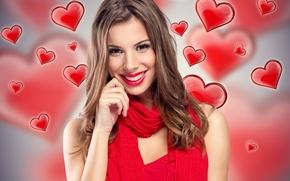 Картинка девушка, улыбка, фон, настроение, макияж, прическа, сердечки, шатенка, шарфик, в красном
