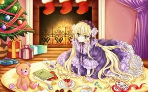 Картинка комната, настроение, огонь, праздник, игрушка, новый год, аниме, арт, конфеты, девочка, лента, подарки, торт, ёлка, …