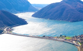 Обои Швейцария, озеро, горы, дорога, переезд, Lugano