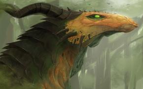 Картинка фантастика, арт. дракон. взгляд, зеленые глаза. рога