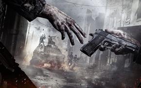 Обои Рука, Crytek, Оружие, Туман, Deep Silver, Пламя, Свет, Люди, Здания, Город, Homefront: The Revolution, Дым, ...